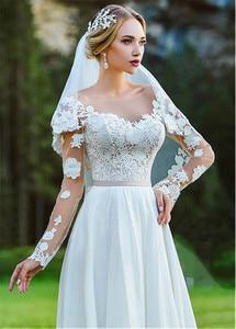 Image 3 - Fabulous Bateau Neckline A Line Wedding Dress With Lace Appliques Long Sleeves Chiffon Outside Bridal Dress vestido longo