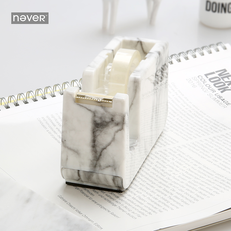 Never Marble Edition Tape Dispenser Cutter Adhesive Tape Holder Washi Tape Storage Hands Free Tape Dispenser Office Accessories high capacity japanese masking tape storage cutter multi rolls round washi tape storage organizer cutter office supplies