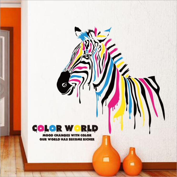 Buy multicolor zebra color world diy wall stickers abstract - Stickers couloir maison ...