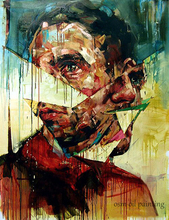 60×90 Abstract Portrait Palette Knife Textured Oil Painting Handmade Scar Face Painting Picturer on Canvas