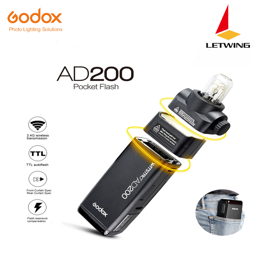 Free DHL 2017 New Godox AD200 Pocket Flash with 2 Light Heads GN52 GN60 200W Power