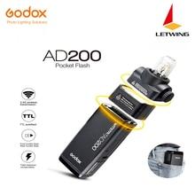 Бесплатная DHL Новинка 2017 года Godox AD200 карман флэш-с 2 света главы GN52 GN60 мощность 200 W 2.4g беспроводное устройство X Системы ttl HSS 1/8000 s