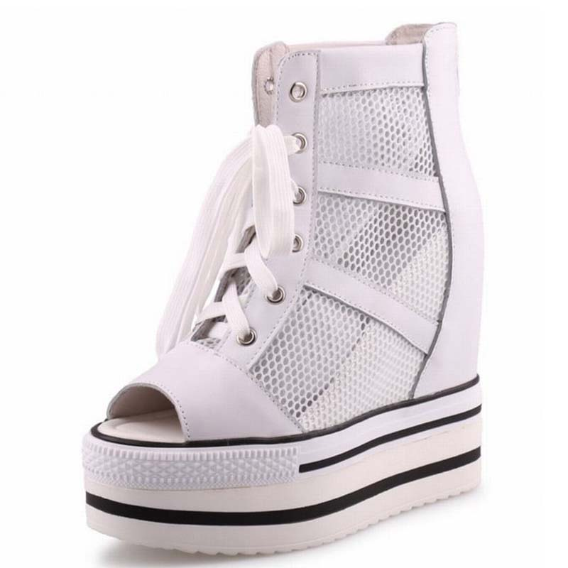 New Fashion Breathable Mesh Peep Toe Hidden Wedges Heels Height Increasing Shoes Women High Platform Summer Boots Casual Sandals summer shoes women casual fashion height increasing women platform shoes breathable air mesh swing wedges shoe women krasovki