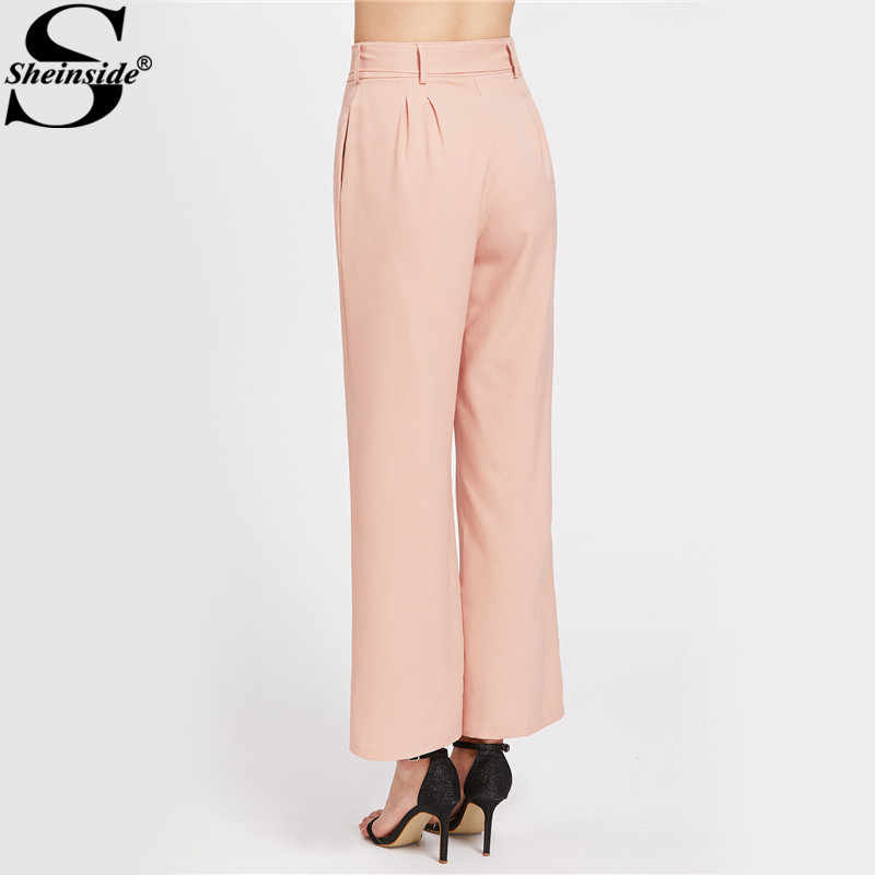 e07334e32d ... Sheinside Pink Elegant Wide Leg Palazzo Pant Women Self Bow Tie High  Waist Belted Pants Summer ...