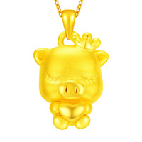 New Arrival Pure 24K Yellow Gold Pendant 3D 999 Gold Heart Pig Pendant 1.95g
