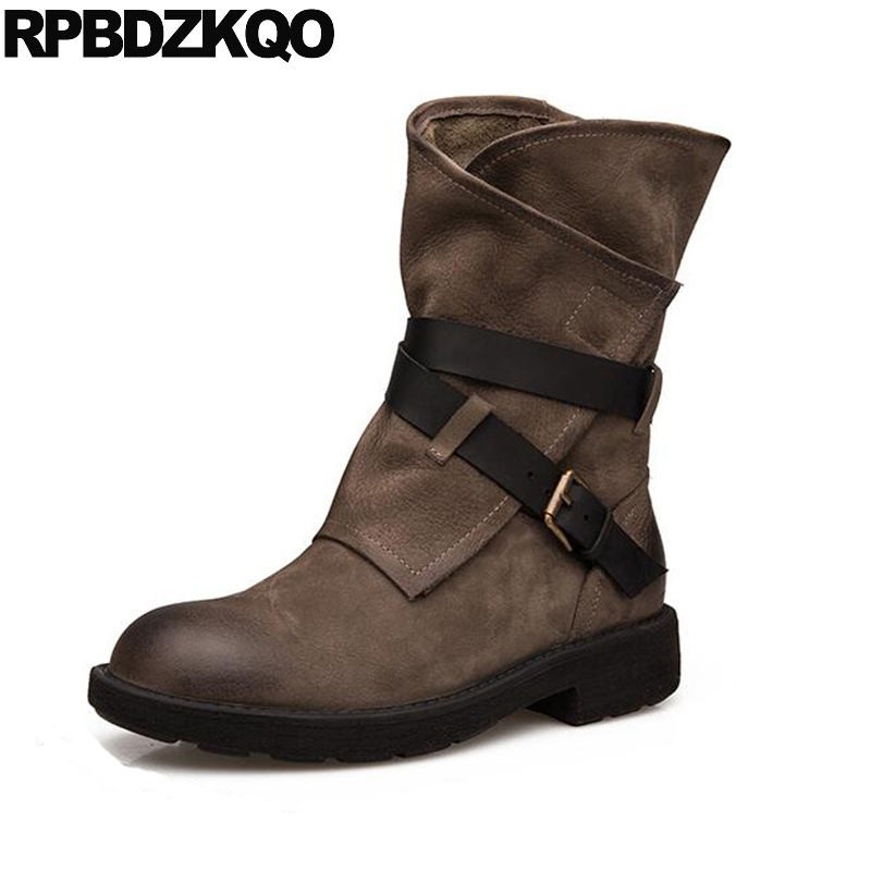 Trend Vintage Round Toe Platform Luxury Brand Shoes Women Chunky Fall Boots Black Retro Genuine Leather Comfortable Mid Calf new arrival superstar genuine leather chelsea boots women round toe solid thick heel runway model nude zipper mid calf boots l63