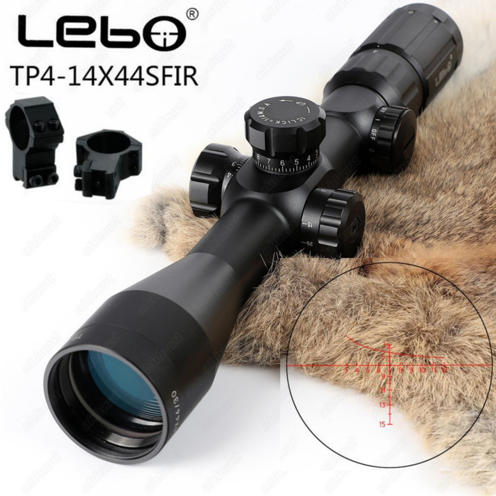 LEBO TP 4-14X44 SFIR First Focal Plane Scope Side Parallax Glass Etched Reticle Red Illuminated Hunting Shooting Riflescope lebo tp 4 14x44 sfir hunting riflescope 1st focal plane glass etched reticle tactical optical sight rifle scope