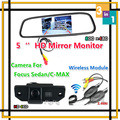 Беспроводной CCD Специальные Заднего Вида Резервную Камеру Для Ford/Focus Sedan/C-MAX/MONDEO 09/10/11 + Lcd HD 5 ''Цифровой Монитор Зеркало