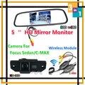 Wireless CCD Especial de Visión Trasera de Copia de seguridad Caja de La Cámara Para Ford/Focus Sedan/C-MAX/MONDEO 09/10/11 + Lcd HD 5 ''Digital Monitor Del Espejo
