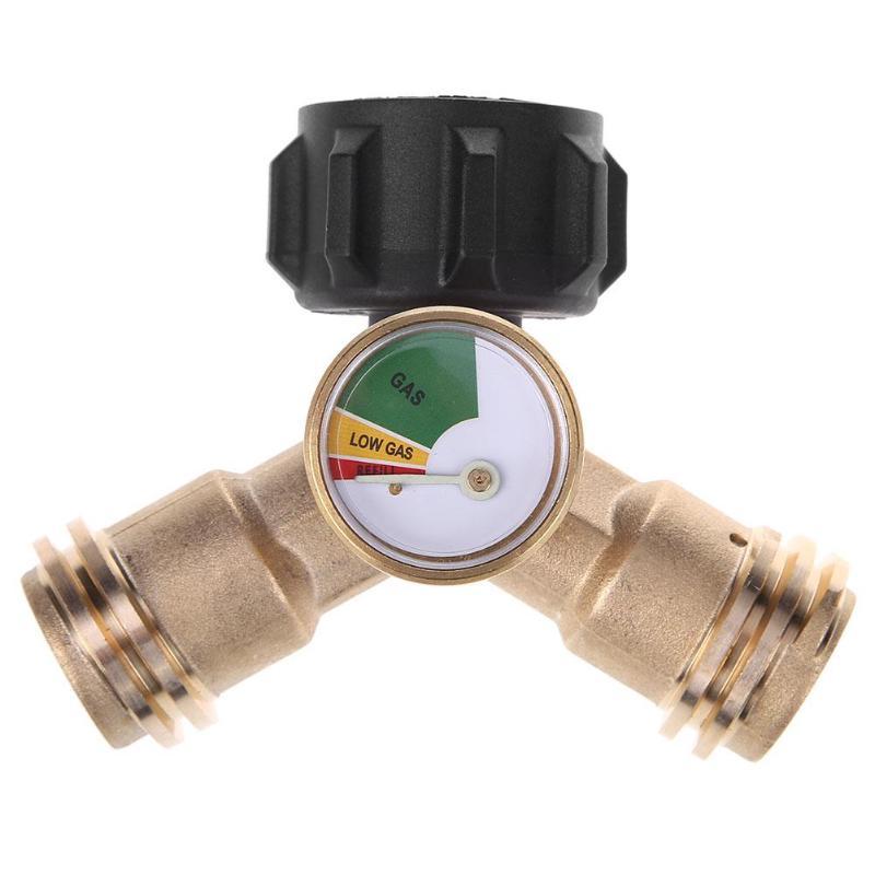 Y-splitter Tee Adapter Connector with Tank Gauge Propane Level Indicator Leak Detector Gas Pressure Meter Tool