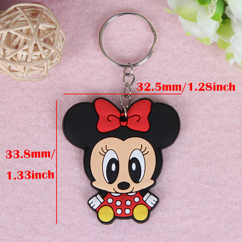 URORU 10 unidades/pacote Animais Dos Desenhos Animados anel keychainkey Ponto Mickey chaveiro Saco chaveiro Pingentes Figura de Ação Brinquedos