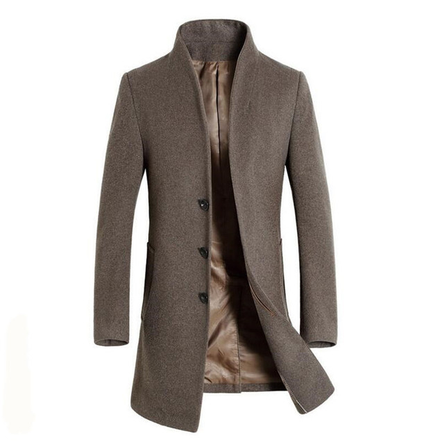 Fashion Men Long Coat Wool Trench Single Breasted Slim Fit Peacoat Overcoat male clothes Stand Collar Jacket parka