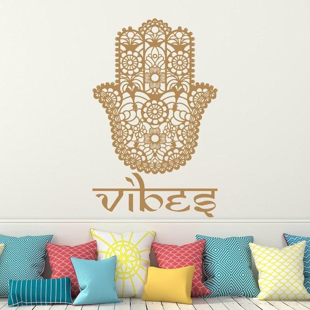 Religious Hamsa Wall Decal Home Room Decor Vibes Hand Sticker Indian Buddha Fatima Vinyl