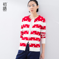 Toyouth 2016 Spring Summer New Arrival Zip Up Long Sleeve Dot Casual Women Sweatershirts