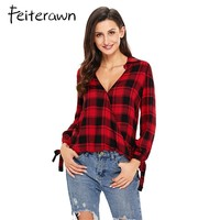 Feiterawn 2017 Casual Plaid Women Blouses Red Black Check V Neck Style Long Sleeve Shirts Loose