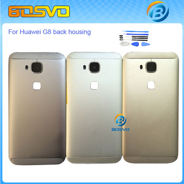 Brand new back battery cover rear door case for huawei g8 back housing with Power Volume Button RIO-L01 RIO-L02 Gray Silver Gold