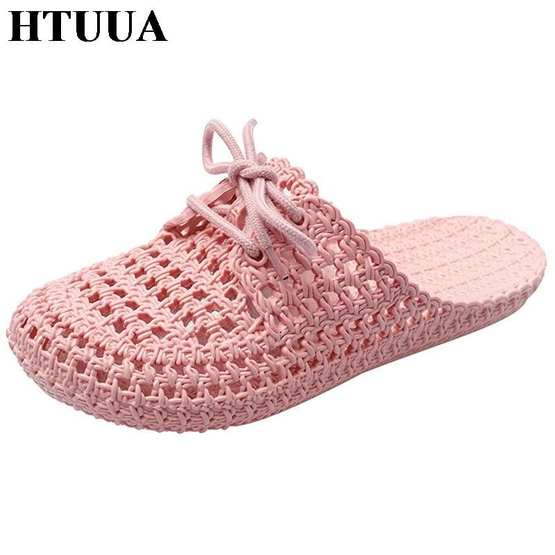 HTUUA Women Slippers Sandals Flip-Flops Home-Shoes Flat Slides Outside Beach Summer Indoor