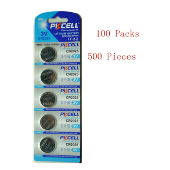 500Pcs/100Pack PKCELL CR2025 3V Lithium Battery BR2025 ECR2025 CR2025 Battery