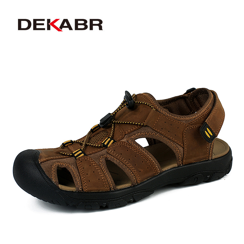 Fashion Summer Men Beach Shoes Breathable Male Sandals Genuine Cowhide Leather Causal Slippers Flat Soft Sole