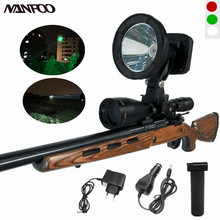 Rechargeable CREE XML2 T6 10W White/Green/Red 1200LM 125mm Scope Mounted Spotlight Weapon Light 4.4Ah Lithium Battery Spot Beam