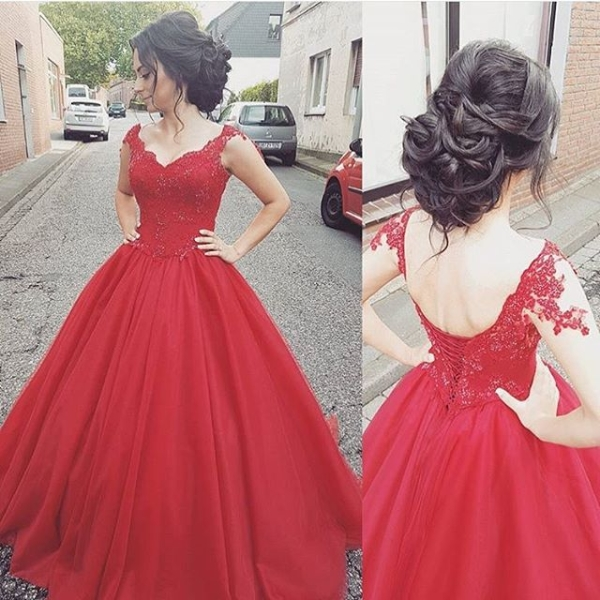 New Arrived Tulle Straps Sleeveless Lace-up Lace Modern   Prom     Dress   2018 Formal Evening Gowns Custom Made Robe De Soiree