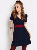 Sisjuly 1960s Vintage Dresses Dark Blue V Neck A Line Gown Knee Length Sashes Party Dress
