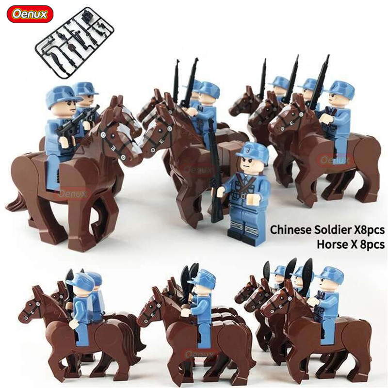 Oenux World War 2 Hundred-Regiment Campaign Military Building Block Chinese Eighth Route Army Figures With Horse DIY Brick Toy oenux world war 2 united state army air forces fighter p 47 thunderbolt aircraft vehicle model military building block brick toy