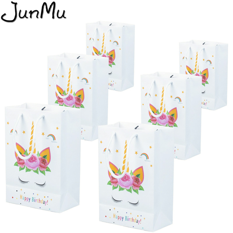 12pcs/set Unicorn Paper Gift Bags Party Bag For Unicorn Party Baby Shower Birthday Decor Candy Box Favors Event Party Supplies