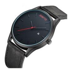 Horloges mannen y relogios feminino GIMTO unisex moda y estilo antiguo horloge cuero tura bandwatch negro y marrón color