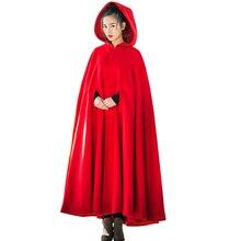 Новая женская мода без рукавов Экстра длинный красный зеленый Рождество маленькая шапочка плащ костюм плащ пальто
