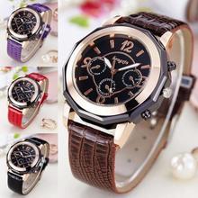 1 pc Mulheres pulseira de Couro Relógio de Quartzo relógios de pulso Das Mulheres ladies Casual relógios de Pulso relógios forma redonda analógico moda hot H4