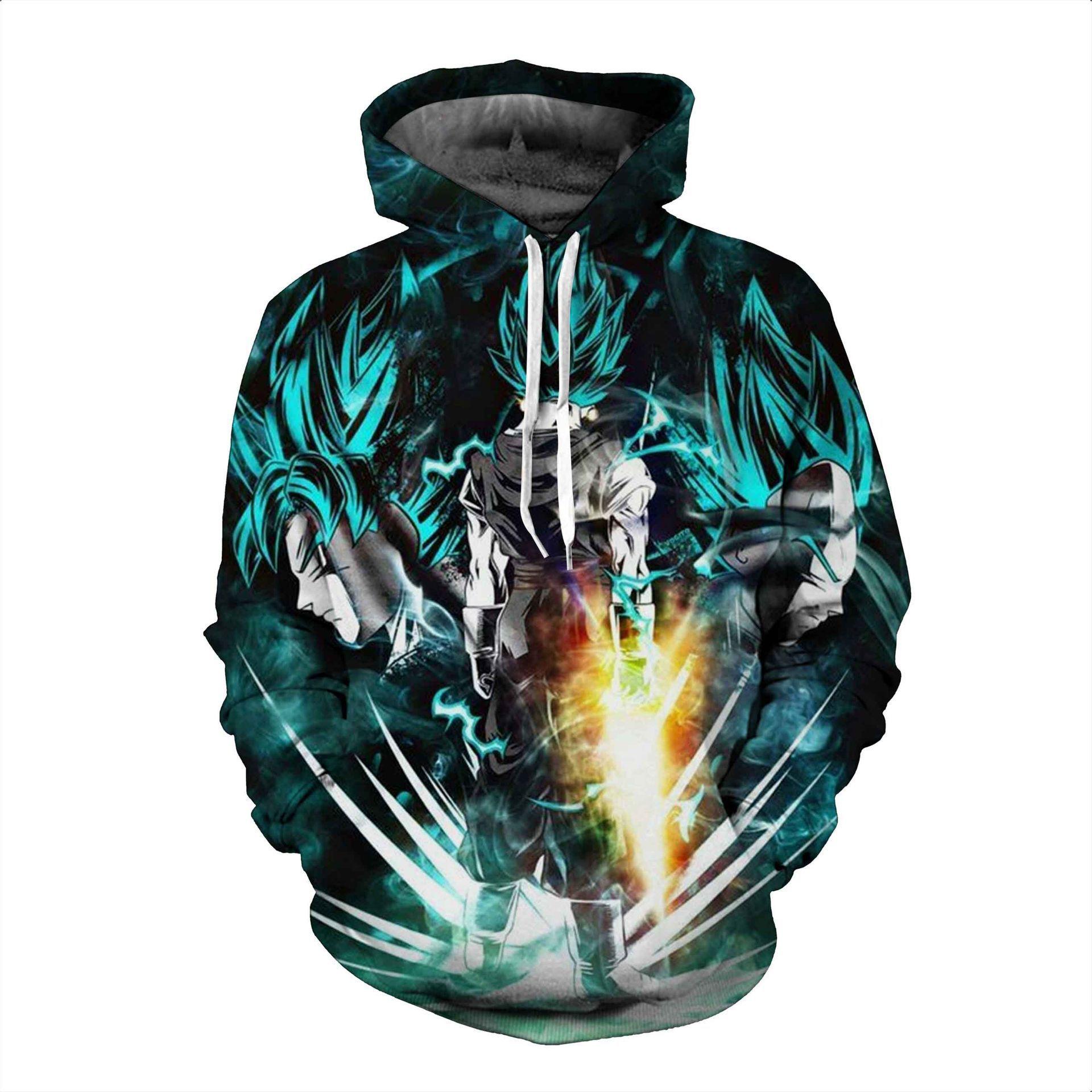 Anime Hoodies Dragon Ball Z Pocket Hooded Sweatshirts Kid Goku 3D Hoodies Pullovers Men Women Long Sleeve Outerwear New Hoodie