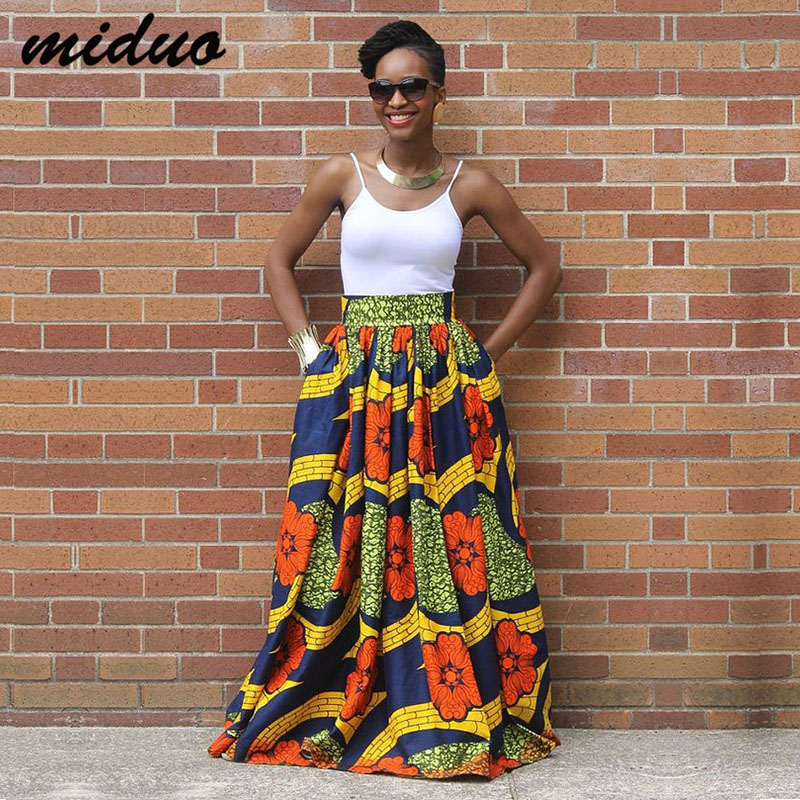Fashion African Maxi Wax Print Jupe Skirt For Women High Waist Boho Gyspy Outfit Lady Multi Color Long Beach Skirt Spring Summer