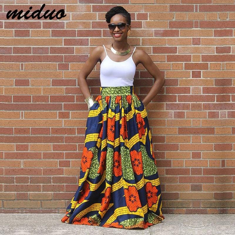 Fashion African Maxi Wax Print Jupe Skirt For Women High Waist Boho Gyspy Outfit Lady Multi Color Long Beach Skirt Spring Summer