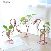 1pcs Set Cute Glass Flamingo Small Flower Pots Water Culture Scindapsus Container Living Room Decorations Office