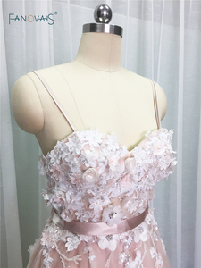 Image 3 - Sexy 2019 Blush Wedding Dresses với Pha Lê Spaghetti Dây Đeo Tulle Hoa Wedding Gown Wedding Gown Wedding Vestido de Novia BT04