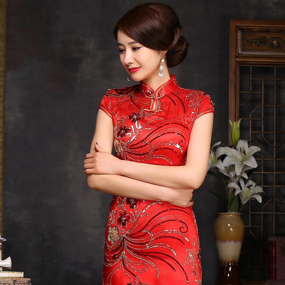 Traditional Chinese Wedding Dress Cheongsam Red Cheongsam Silk 2016 Bridesmaid Modern Qipao Long Red Lace Oriental Style Dresses