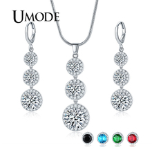 UMODE 2019 New Fashion Round Pendant Necklace and Earrings Sets for Women Blue Black Green Red Zircon White Gold Jewelry AUS0083