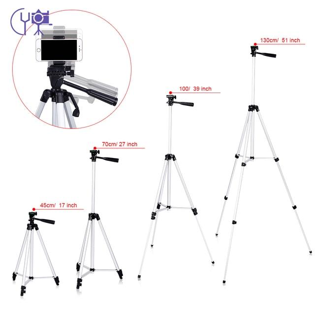 CY 1 pièces 130 cm professionnel caméra trépied support lumière trépied avec culbuteur pour Canon Nikon Sony DSLR appareil photo avec clip de téléphone