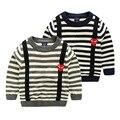 Europeus e Americanos Estilo de Moda Primavera E No Outono Do Menino Do Miúdo suéter Listrado O Pescoço de Manga Comprida Camisola Jaqueta Para Crianças menino