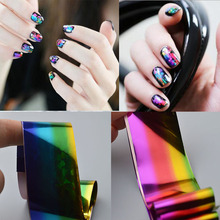 4x10cm/pc Gradient Starry Sky Nail Foil Blue Holographic Paper Nail Art Decorations Tips for Design Polish Nail DIY Accessories