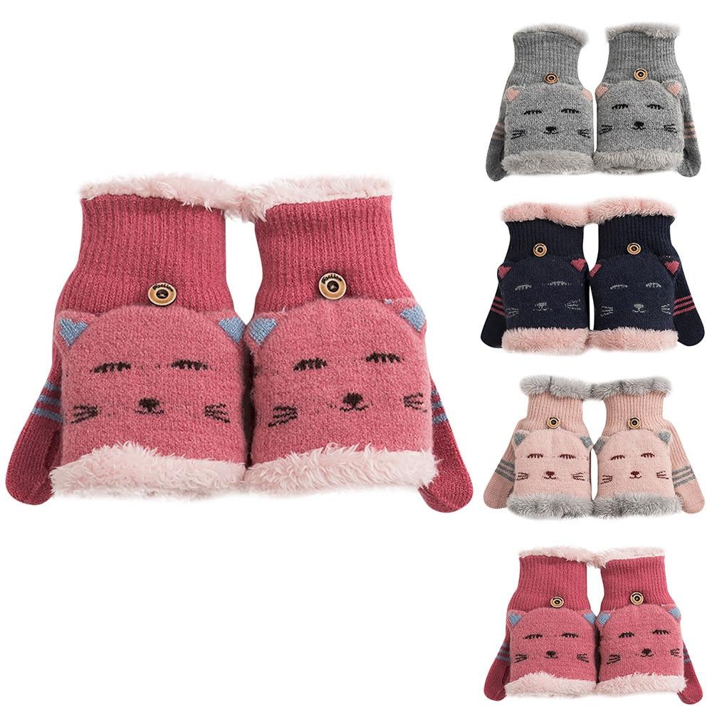 2019 New Children Winter Gloves Fingerless Kids Cartoon Knitted Stretch Warm Suede Fabric Full Finger Mittens Girls #5