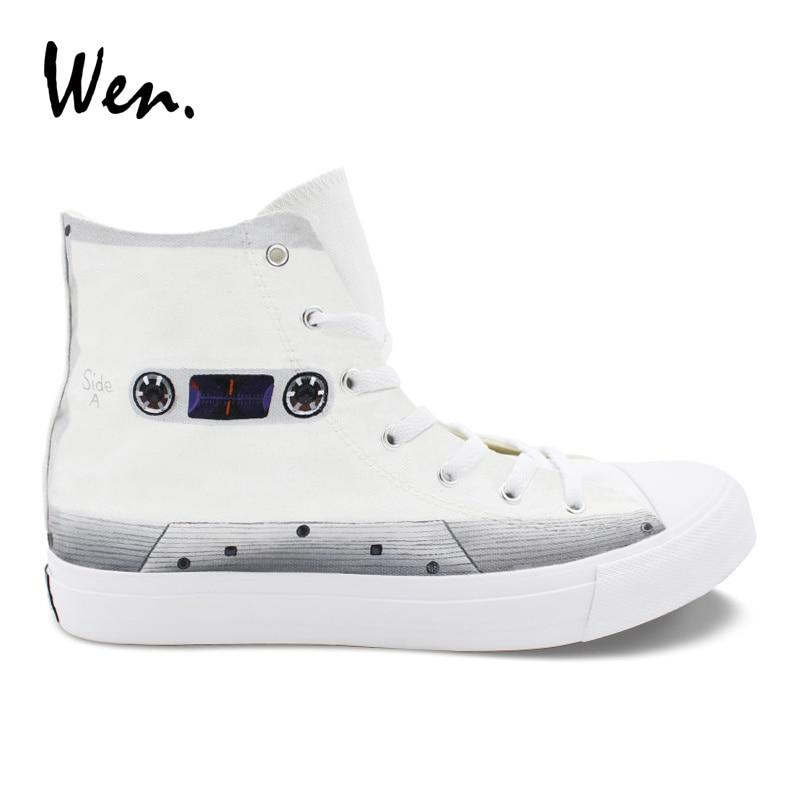 Wen chaussures en toile blanche Design Original ruban peint à la main chaussures haut de gamme baskets baskets baskets chaussures pour garçon fille cadeau