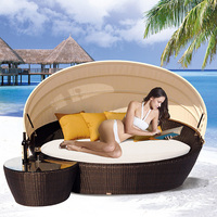 rattan sunbed outdoor furniture waterproof sun bed outdoor beach daybed