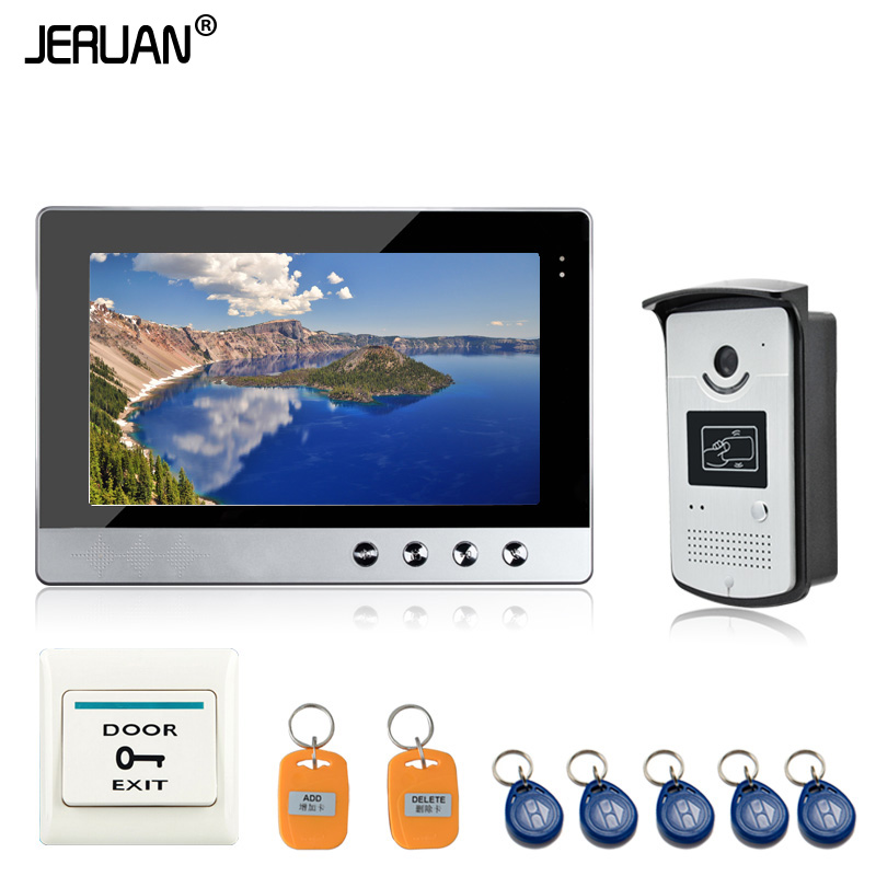 JERUAN New 10 inch Color Video Door Phone Intercom Doorbell System + 1 Monitor + RFID Access Waterproof Camera In Stock  jeruan new 7 inch touch key color video intercom entry door phone system rfid access doorbell camera 1 monitor in stock