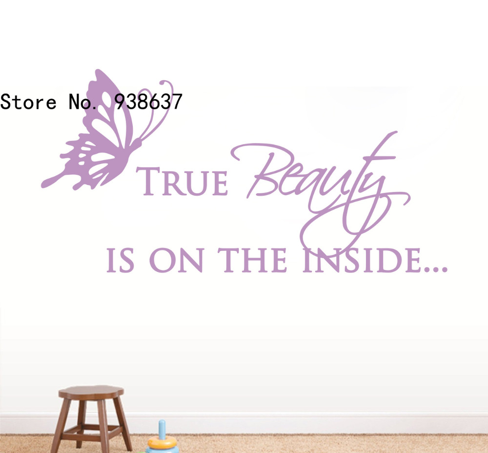 True Beauty Quote Wall Decal with Butterfly Home Decor Living Room Bedroom Office Decoration Vinyl Removable Wall Stickers ZA900
