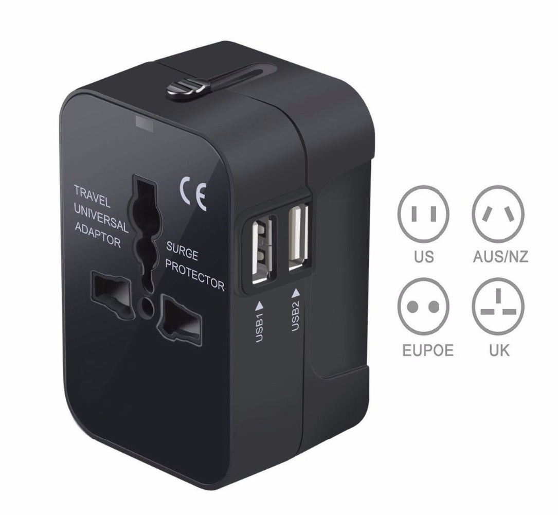 Universal Worldwide All in One Phone Charger Travel Wall AC Power Plug Adapter with Dual USB Charging Ports for USA EU UK AU