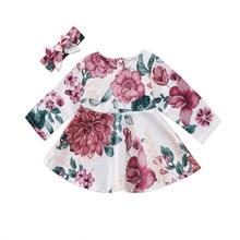 New Fashion Hot Newborn Kid Baby Girls Flower Dress Long Sleeve Princess Party Pageant Headband Clothes Set 0-24M