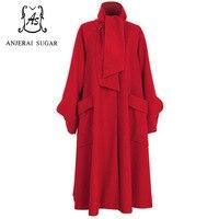 Для женщин зимняя куртка черный и красный водолазка шерстяное пальто длинные casaco feminino линии пальто карманы большой размер зимние Куртки
