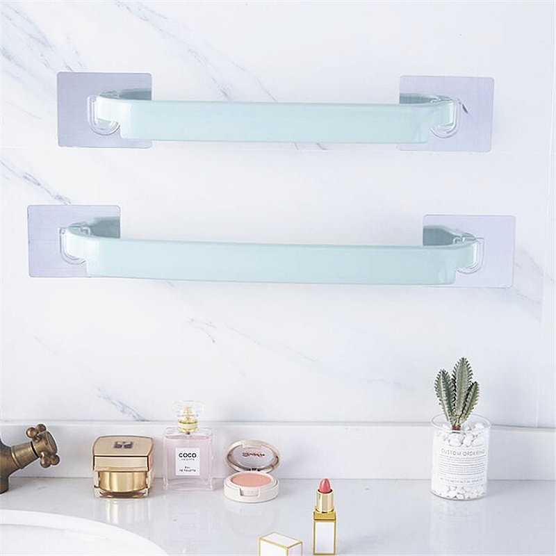 FEIGO Stapleless Towel Bar Wall Hanging Stickers Glue Storage Rack for kitchen Bathroom Holder Cloth Drying Stand F787